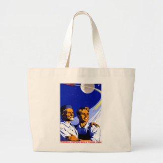 Retro Vintage Kitsch Sci Fi USSR Soviet Space Canvas Bags