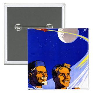 Retro Vintage Kitsch Sci Fi USSR Soviet Space Pinback Buttons