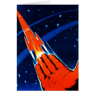 Retro Vintage Kitsch Sci Fi USSR Soviet Space Greeting Card