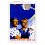 Retro Vintage Kitsch Sci Fi USSR Soviet Space Greeting Card
