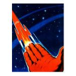 Retro Vintage Kitsch Sci Fi USSR Soviet Space Postcard