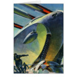 Retro Vintage Kitsch Sci Fi WWI Super Tank Card