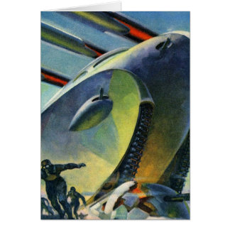 Retro Vintage Kitsch Sci Fi WWI Super Tank Greeting Card