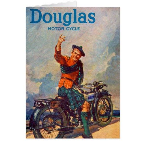 Retro Vintage Kitsch Scot Douglas Motorcycle Ad Card