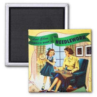 Retro Vintage Kitsch Sewing Needlepoint Needlework Magnet