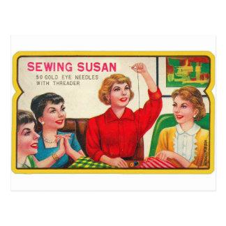 Retro Vintage Kitsch Sewing Susan Needles Book Postcard