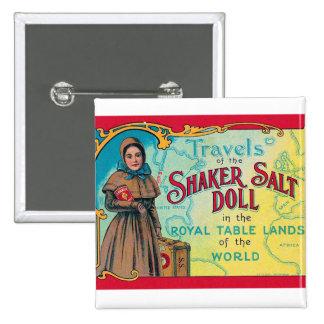 Retro Vintage Kitsch Shaker Salt Doll Advert Button