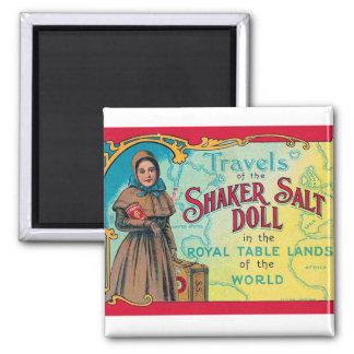 Retro Vintage Kitsch Shaker Salt Doll Advert Magnet
