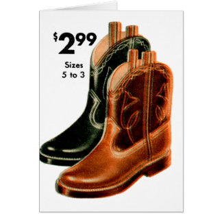 Retro Vintage Kitsch Shoes Kid's Cowboy Boots Art Card