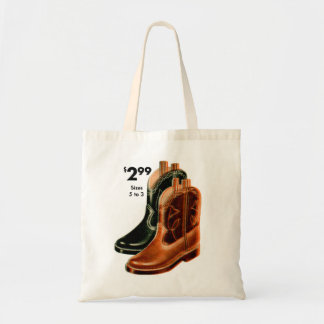 Retro Vintage Kitsch Shoes Kid's Cowboy Boots Art Tote Bag