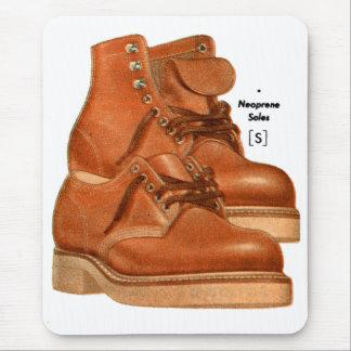 Retro Vintage Kitsch Shoes Men's Boots Neoprene Mouse Pad