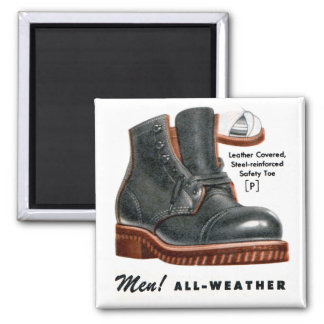 Retro Vintage Kitsch Shoes Men's Boots Steel Toe Magnet