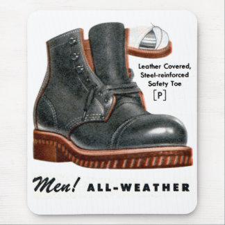 Retro Vintage Kitsch Shoes Men's Boots Steel Toe Mouse Pad
