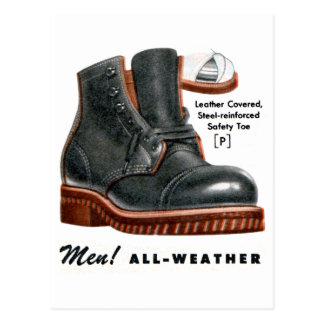 Retro Vintage Kitsch Shoes Men's Boots Steel Toe Postcard