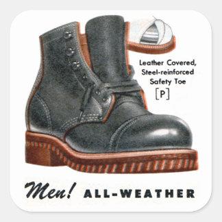 Retro Vintage Kitsch Shoes Men's Boots Steel Toe Square Sticker