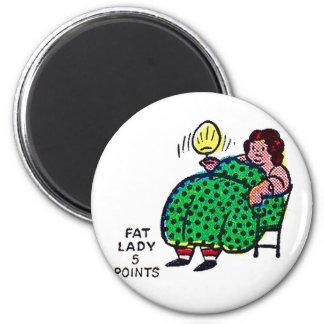Retro Vintage Kitsch Sideshow Character 'Fat Lady' Fridge Magnets