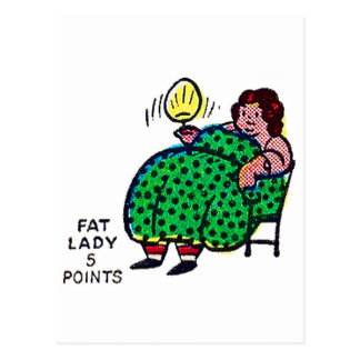 Retro Vintage Kitsch Sideshow Character 'Fat Lady' Postcard