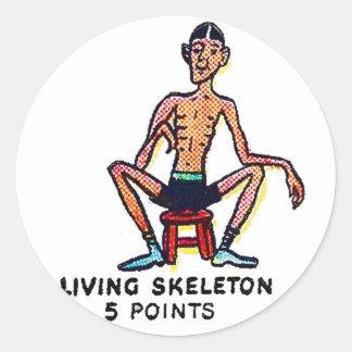 Retro Vintage Kitsch Sideshow 'Living Skeleton' Classic Round Sticker