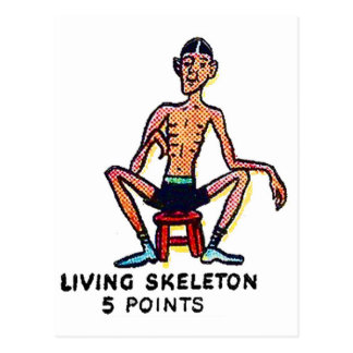 Retro Vintage Kitsch Sideshow 'Living Skeleton' Postcard