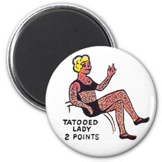 Retro Vintage Kitsch Sideshow 'Tatooed Lady' Refrigerator Magnets