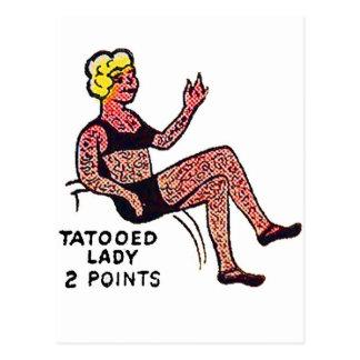 Retro Vintage Kitsch Sideshow 'Tatooed Lady' Post Cards