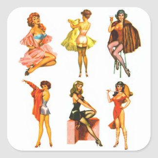 Retro Vintage Kitsch Six Pin Up Pinup Girls Square Sticker