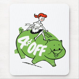 Retro Vintage Kitsch Sixties Ad Art 4¢ Off Pig Mouse Pad