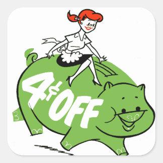 Retro Vintage Kitsch Sixties Ad Art 4¢ Off Pig Square Sticker