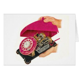 Retro Vintage Kitsch Sixties Telephone Phone Guts Card