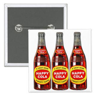 Retro Vintage Kitsch Soda Happy Cola Bottles Pinback Button