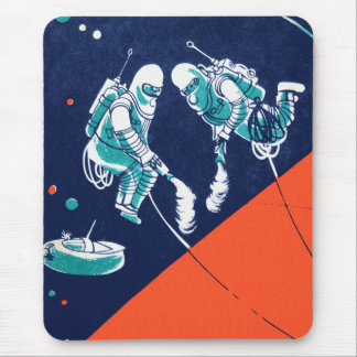 Retro Vintage Kitsch Space Astronaut Space Walking Mouse Pad