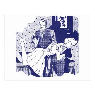 Retro Vintage Kitsch Spanking the Wife Postcard