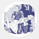 Retro Vintage Kitsch Spanking the Wife Classic Round Sticker