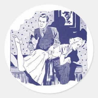 Retro Vintage Kitsch Spanking the Wife Sticker
