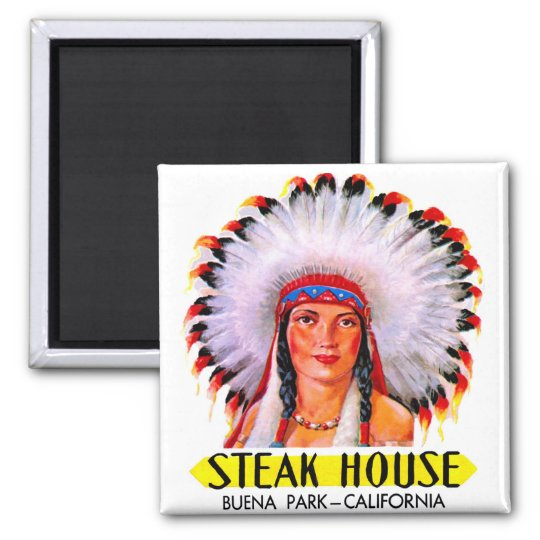 Retro Vintage Kitsch Steak House Indian Princess 2 Inch Square Magnet