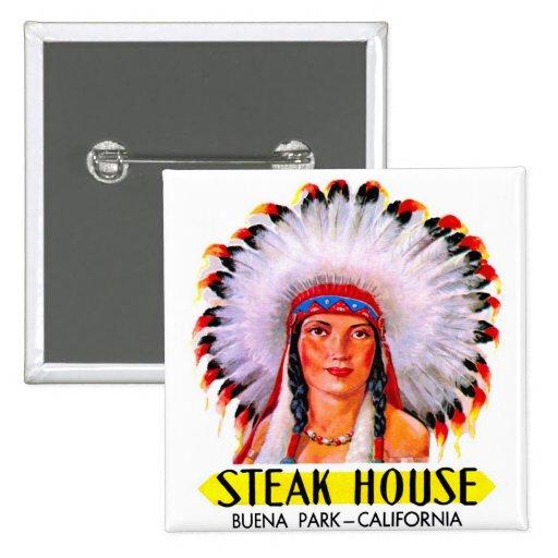 Retro Vintage Kitsch Steak House Indian Princess Button
