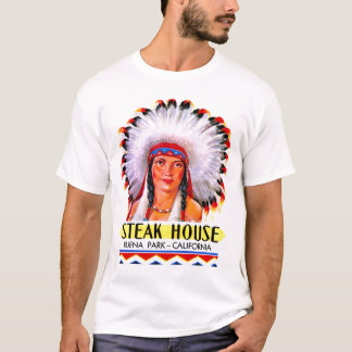 Retro Vintage Kitsch Steak House Indian Princess T-Shirt