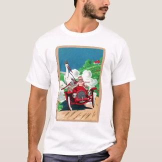 Retro Vintage Kitsch Stork Delivers Baby in Jalopy T-Shirt