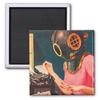 Retro Vintage Kitsch Strange Dive Helmet Secretary 2 Inch Square Magnet