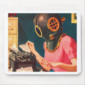 Retro Vintage Kitsch Strange Dive Helmet Secretary Mouse Pad