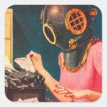 Retro Vintage Kitsch Strange Dive Helmet Secretary Square Sticker