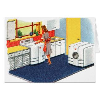Retro Vintage Kitsch Suburbs 50s Washer & Dryer Card
