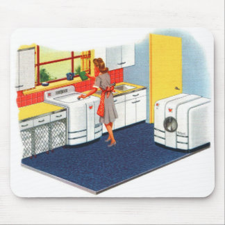 Retro Vintage Kitsch Suburbs 50s Washer & Dryer Mouse Pad