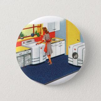 Retro Vintage Kitsch Suburbs 50s Washer & Dryer Pinback Button