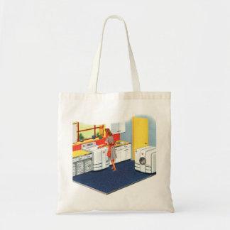 Retro Vintage Kitsch Suburbs 50s Washer & Dryer Tote Bag