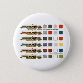 Retro Vintage Kitsch Suburbs Approved House Colors Button