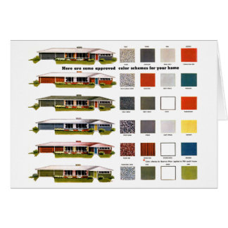 Retro Vintage Kitsch Suburbs Approved House Colors Card