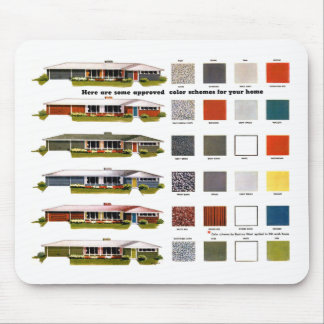 Retro Vintage Kitsch Suburbs Approved House Colors Mouse Pad