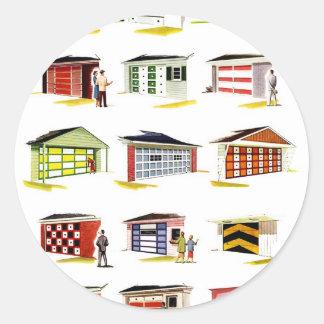 Retro Vintage Kitsch Sunurbs Garage Door Options Classic Round Sticker