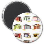 Retro Vintage Kitsch Sunurbs Garage Door Options Fridge Magnet